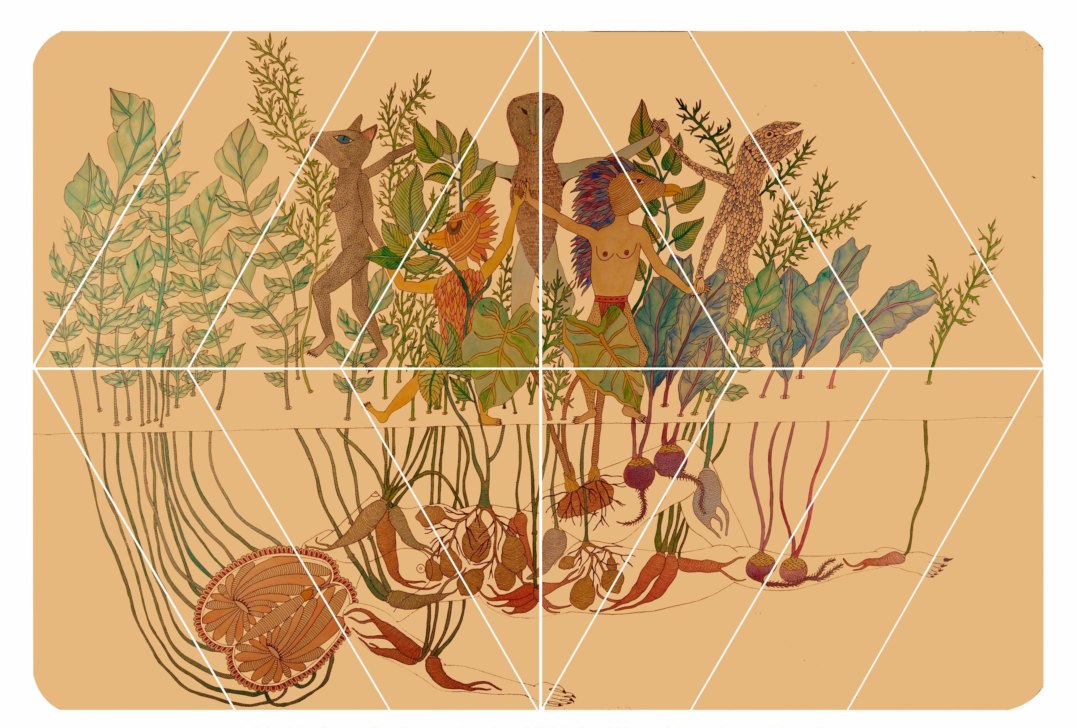 15050412573210. Rithika Merchant, The Creative Sacrifice, Gouache & Ink on Paper, 27.6 x 39.3 in, 2011