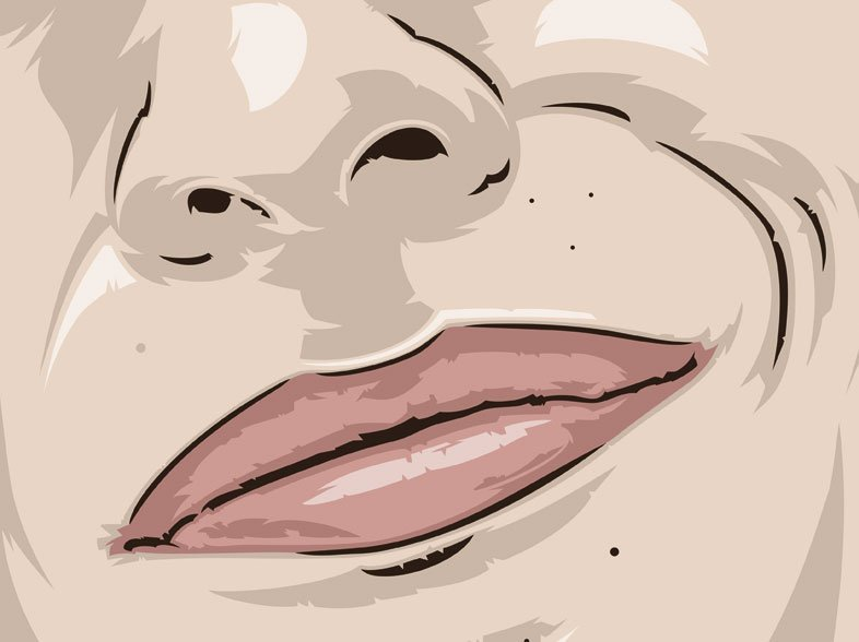 labios de la periodista Celia Blanco